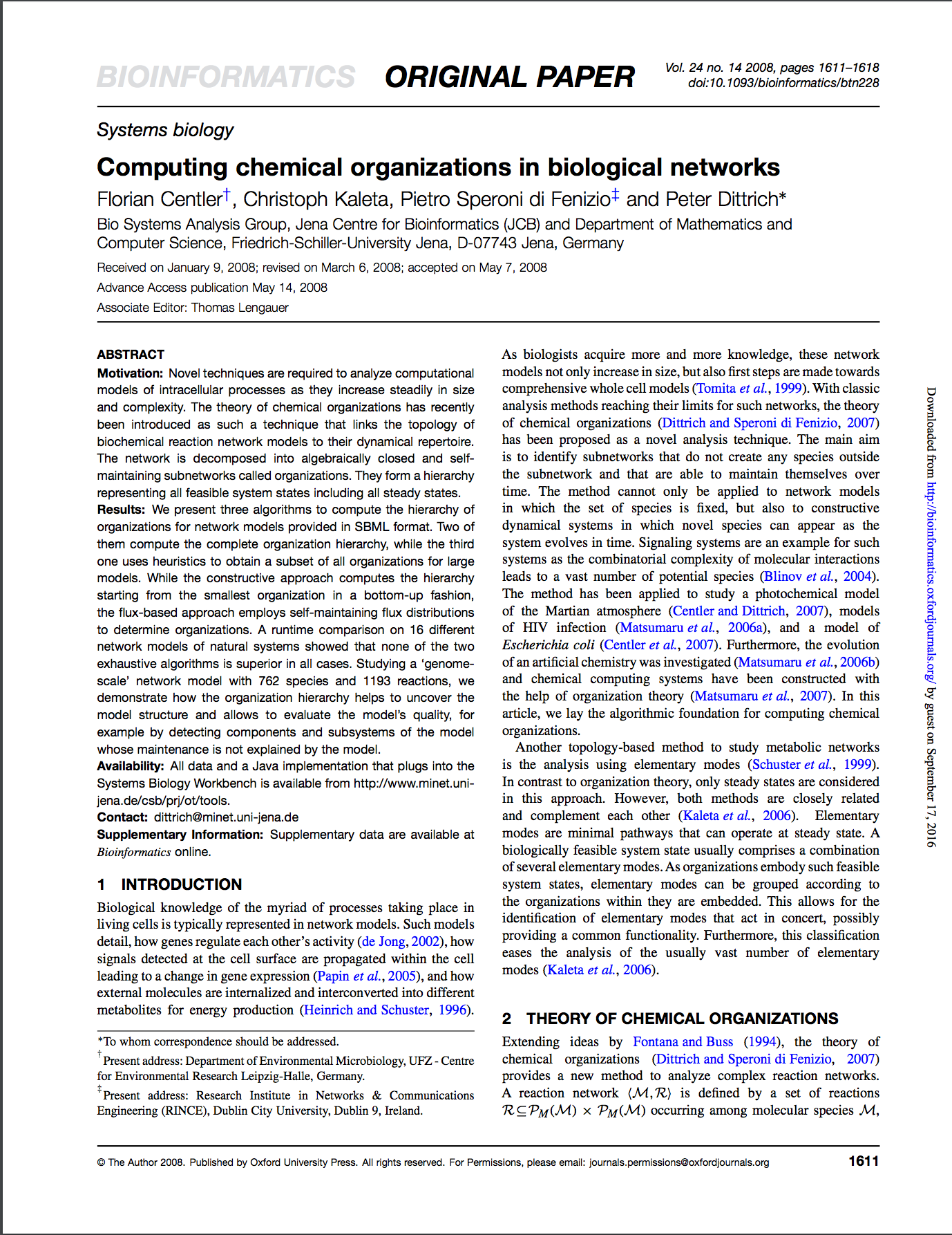 Computing chemical organizations in biological networks